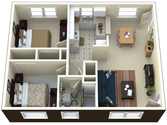 2 bed 1 bath apartment in royal oak mi arlington for 3 bedroom 2 bath garage apartment plans