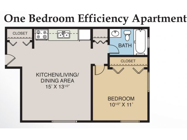 1 bed 1 bath apartment in midland mi eastlawn arms Efficiency apartment floor plan