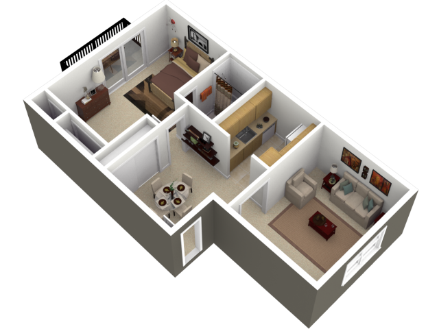1 2 bed apartments madison park court for Small apartment design 3d