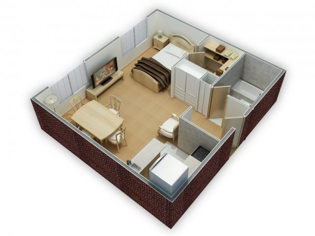 Studio 1 bath apartment in philadelphia pa greenbriar for Recording studio floor plans architecture