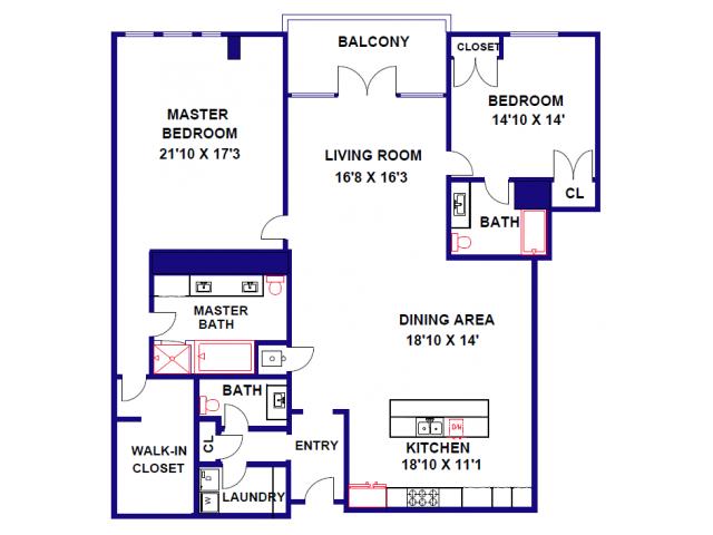 2 Bedroom / 2.5 Bath