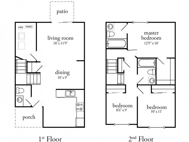 3 bedroom townhouse floor plans with garage for 3 bedroom 2 bath garage apartment plans