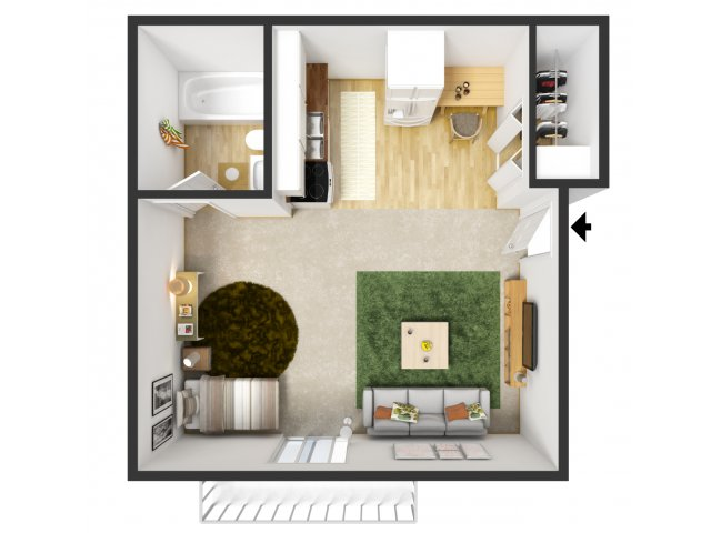 Studio Apartment Floor Plans 3d Studio / 1 Bath Apartment In Portage Mi |  Briargate Apartments