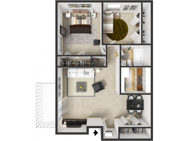 2 Bedroom 1 Bath Apartment Floor Plans