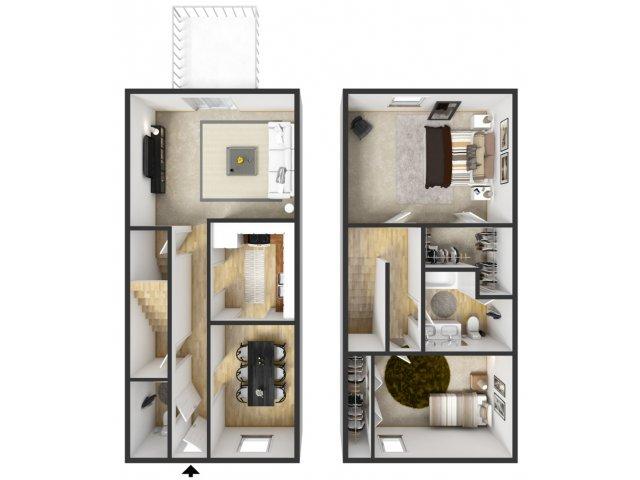 2 bedroom 2 bath apartment. for the 2 Bedroom Townhouse floor plan  Bed 1 5 Bath Apartment in Grand Rapids MI Windridge Apartments