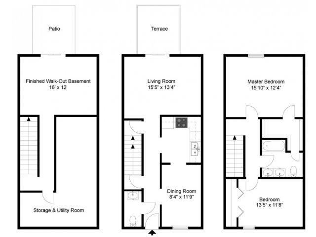 2 bed 1 5 bath apartment in grand rapids mi windridge for 2 bedroom townhouse floor plans
