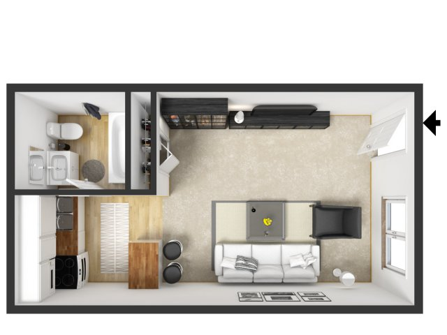 Studio Apartment Floor Plans studio - 2 bed apartments | arrowhead apartments