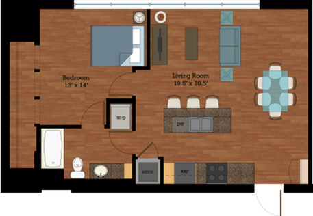 Floor plan is for illustrative purposes only. Please contact the leasing office for exact layouts.