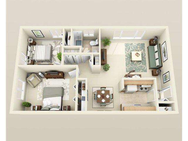 Gallery For 2 Bedroom Apartment Floor Plans 3d