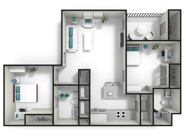 All Floor Plans2 Bedroom 2 Bathroom. 2 Bed   2 Bath Apartment in Auburn AL   Tiger Lodge