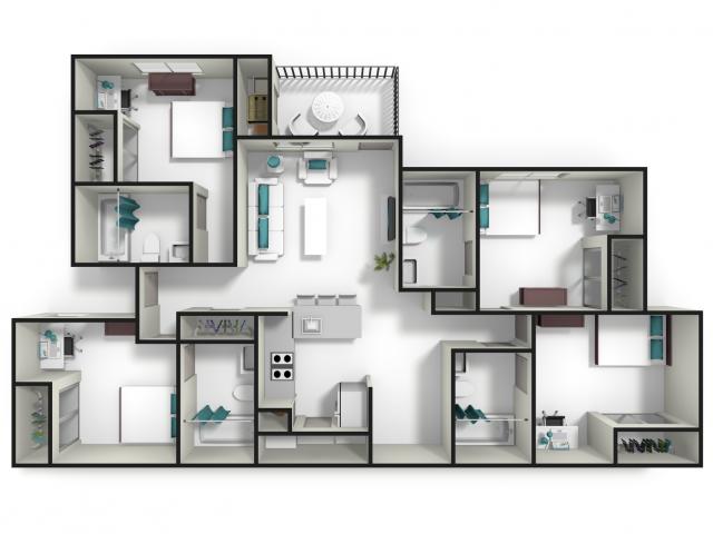Apartment Floor Plans 4 Bedroom 4 bed / 4 bath apartment in auburn al | tiger lodge