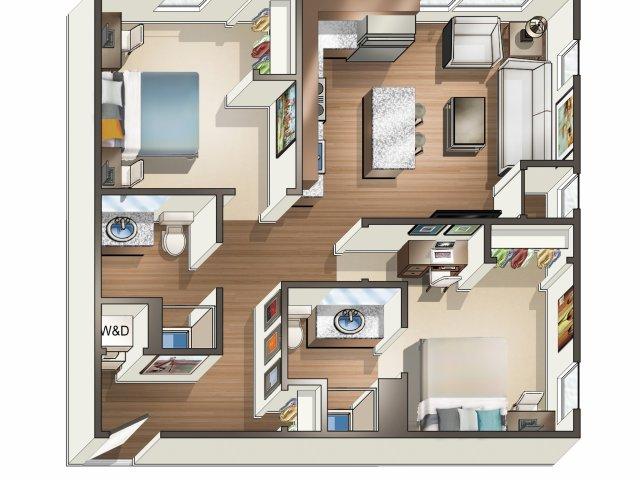 2 Bedroom 2 Bath Shared floor plan