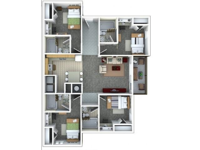 Four bed, Four bath floorplan