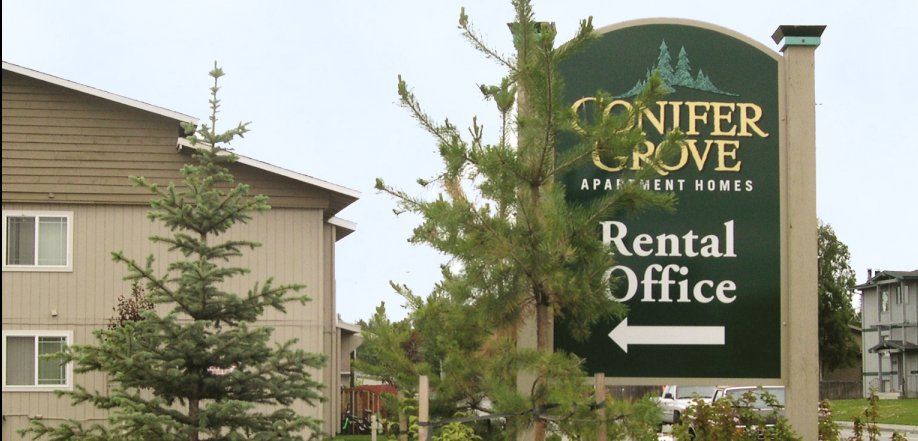 picture of apartment exterior leasing office sign