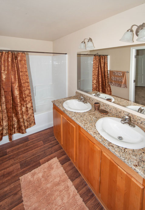 picture of bathroom with double sink shower bathtub