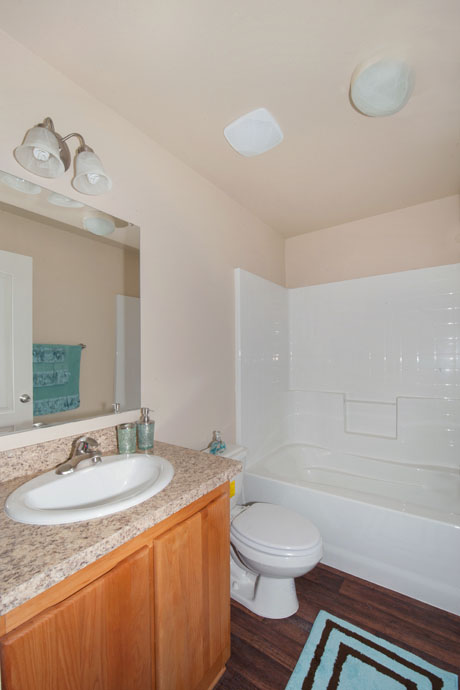 picture of new apartment bathroom double sink bathtub