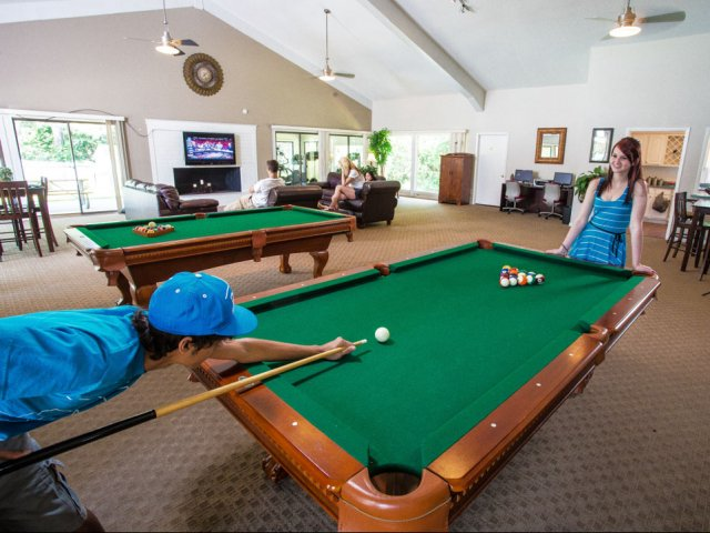 Image of Two pool tables in the Clubhouse for Heather Ridge
