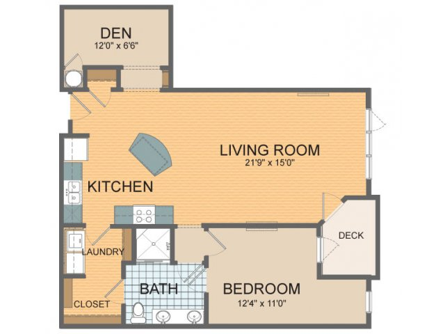 1 bedroom + den.