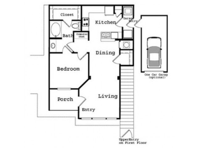 1 Bedroom Floor Plan 3 | The Legends at Wolfchase