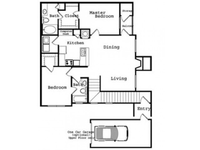 2 Bedroom Floor Plan | The Legends at Wolfchase