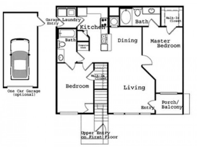 2 Bedroom Floor Plan 3 | The Legends at Wolfchase