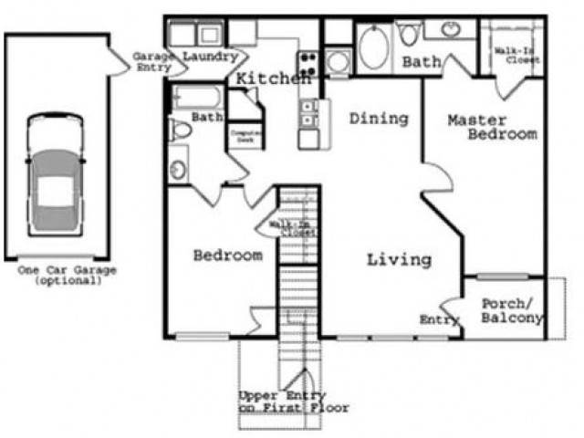 2 Bedroom Floor Plan 4 | The Legends at Wolfchase