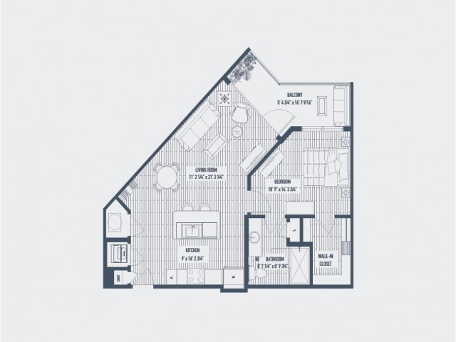 With one of the largest balconies offered in any type of home, the Napa one bedroom floor plan is exceptional. The living areas are incredibly spacious, which lends itself to variety of different furniture layout options including a home of