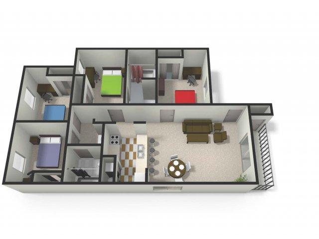 Four BedTwo Bath Floor Plan | Four Bedroom Apartments near CMU