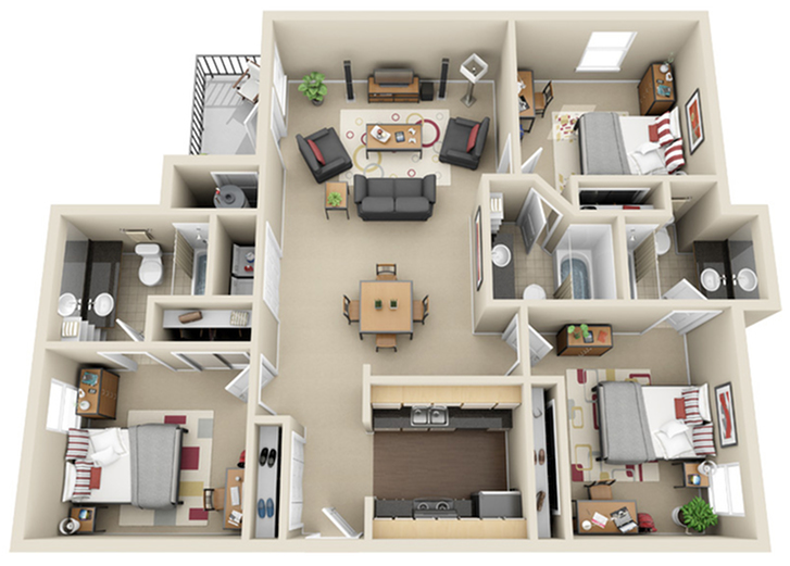 3 Bedroom Floor Plan | The Landings at Chandler Crossings | Student Housing Near Michigan State University
