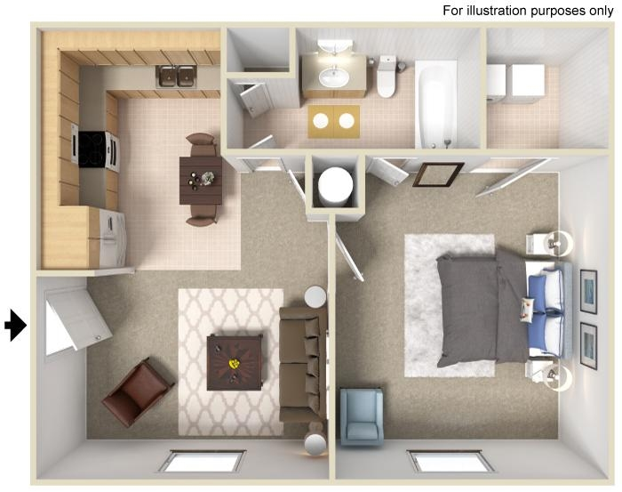 1 Bedroom 1 Bathrrom Floorplan