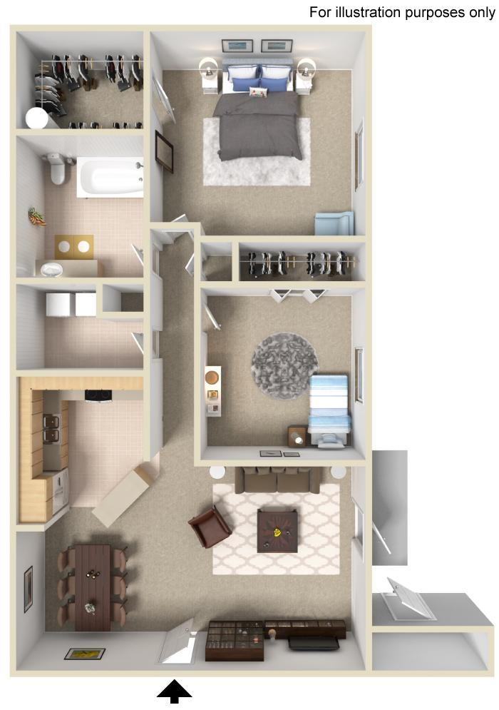 2 Bedroom 1 Bathrrom Floorplan