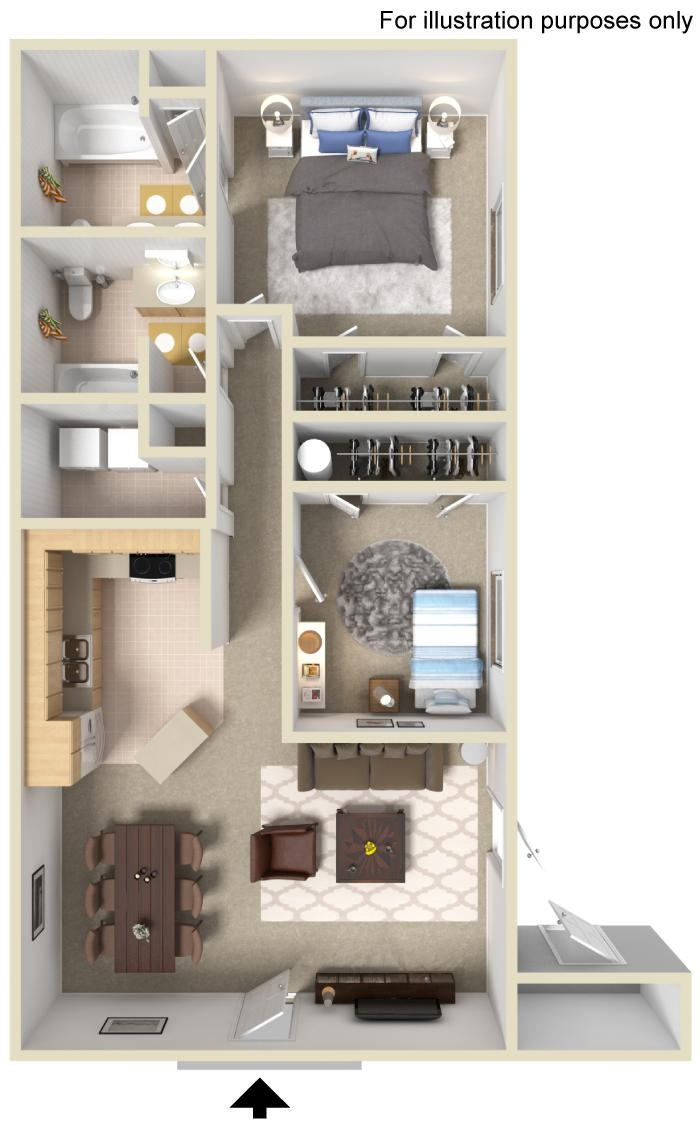 2 Bedroom 2 Bathrrom Floorplan