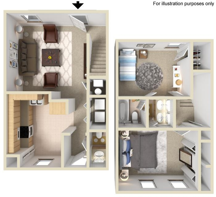 2 Bedroom 1.5 Bathrrom Floorplan