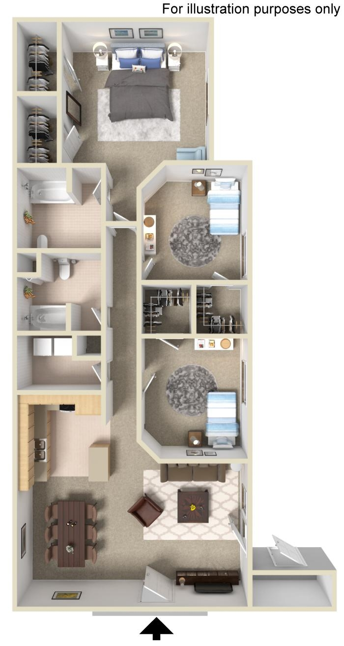 3 Bedroom 2 Bathrrom Floorplan