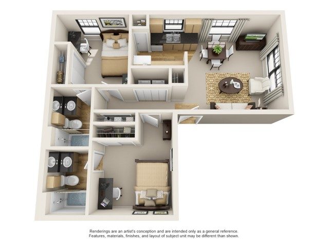 All|Floor Plans2 Bedroom 2 Bathroom B2