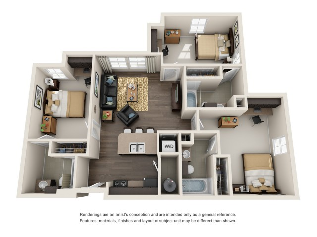 All|Floor Plans3 Bedroom 3 Bathroom C1