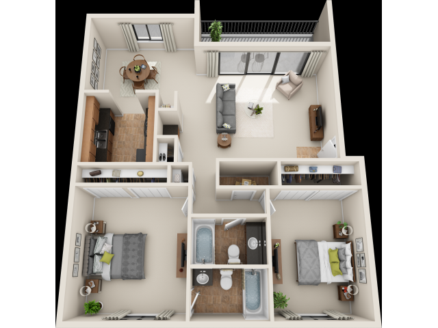 2 bed/2 bad, 1,217 sq. ft.