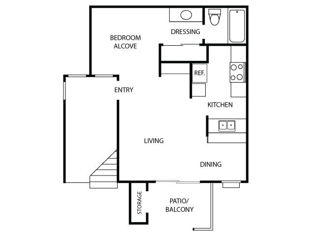 Studio Floor Plan| Sycamore Lane Apartments | Apartments in Mission Viejo