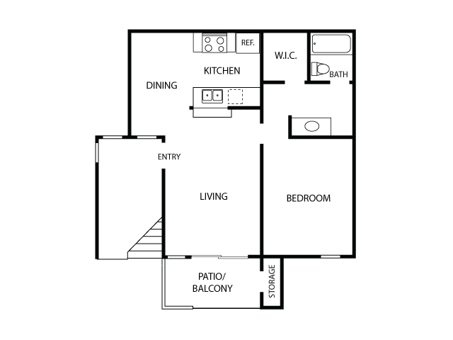 1x1 Floor Plan| Sycamore Lane Apartments | Apartments in Mission Viejo