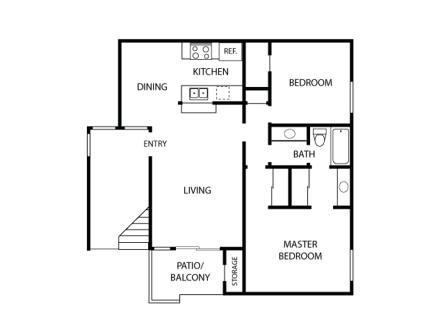 2x1 Floor Plan| Sycamore Lane Apartments | Apartments in Mission Viejo