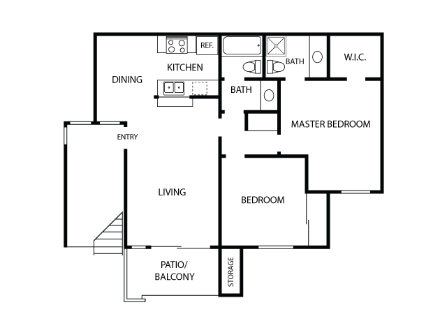 2x2 Floor Plan| Sycamore Lane Apartments | Apartments in Mission Viejo