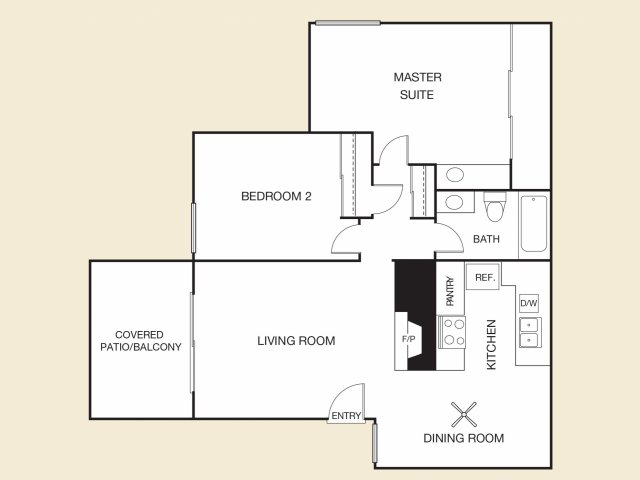 Flores Floor Plan C | Apartments in Cypress, CA | Casa Grande Apartment Homes