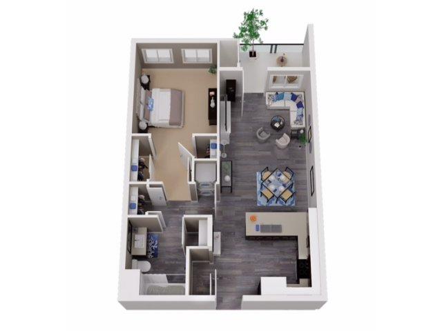 2 Bedroom 1 Bath Apartment Floor Plans