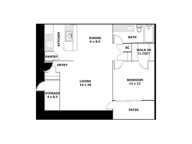 One Bedroom Apartments For Rent in ElPaso, Texasl Ridgemar Apartments