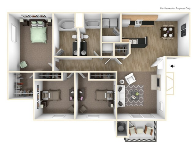 Three Bedroom Apartments in Roseville, CA Apartments l The Preserve at Creekside Apartments
