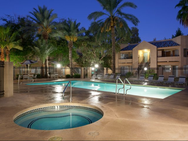 Meadow Glen | Apartments For Rent in Glendale, AZ | Swimming Pool in the Evening