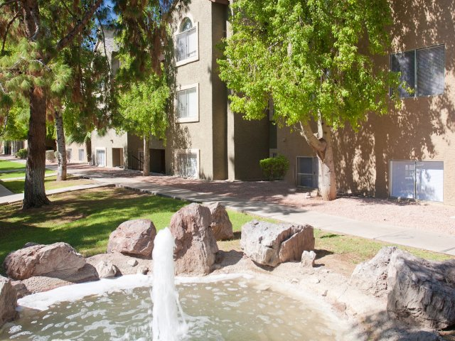 Terra Vida Apartments for Rent in Mesa, AZ | Waterscape with Rocks and Fountain
