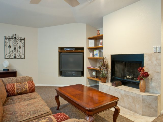 Terra Vida Apartments for Rent in Mesa, AZ | Clubhouse with Fireplace
