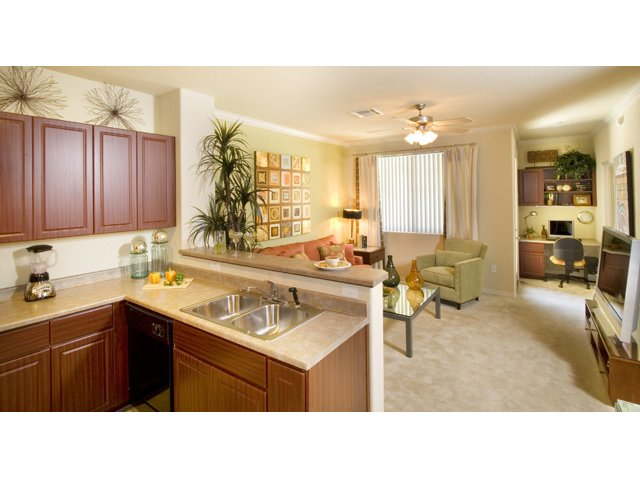 Waterford at Peoria Apartments for Rent in Peoria, AZ | Sunrise Kitchen and Living Area