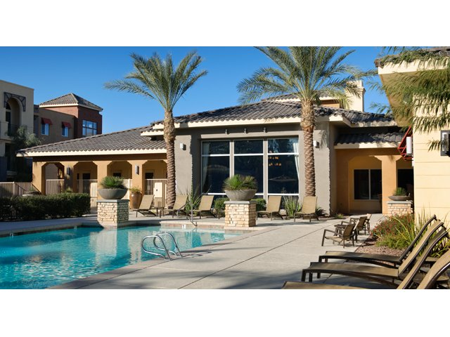 The Residences at Village Stadium in Surprise, AZ Apartments | Pool with Sundeck